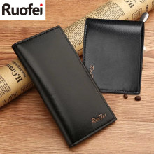 RUOFEI men Leather Men Wallets Business Brand Card holder Coin Purse Men's Long Zipper Wallet Leather wallet female coin purse business card holder zipper