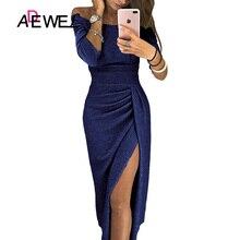 ADEWEL Sexy Black Off Shoulder Split Evening Gowns Long Party Dresses Women Elegant Slash Neck Nightclub Maxi Vestidos