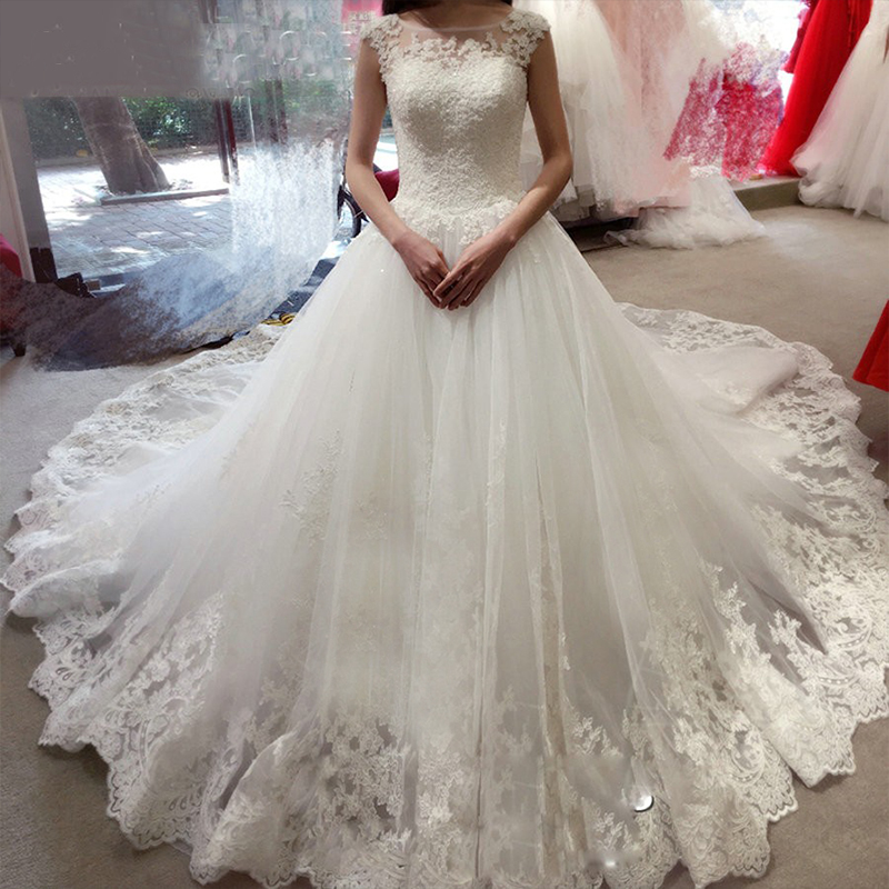 ZJ9128 2019 New Beads Crystal Sequins White Ivory Elegant Wedding Dresses For Brides Plus Size Formal Sweetheart With Lace Edge