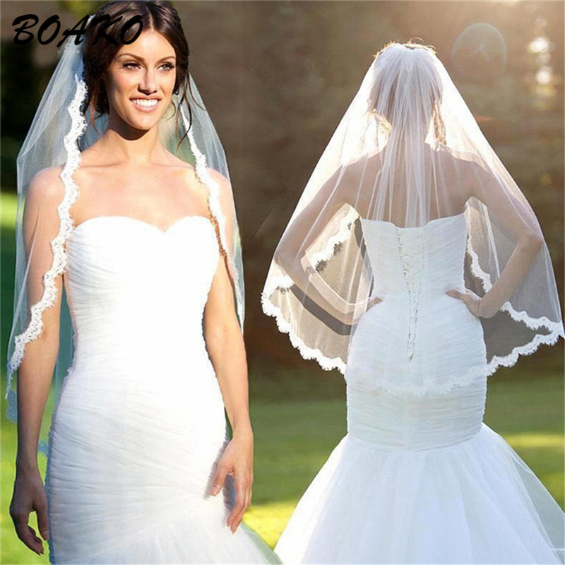 BOAKO Short Wedding Veils With Comb Eyelash Lace Edge One Layer Tulle Bridal Veil Voile Mariage Wedding Accessories White Beige