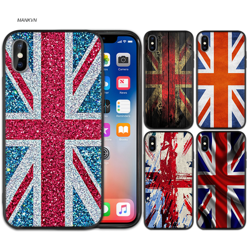 Flag United Kingdom <font><b>Londo</b></font> Black Rubber Soft TPU Silicone Case Cover for iPhone X XS XR XS 11 11Pro Max 7 8 6 6S 5 5S 5C SE Plus image