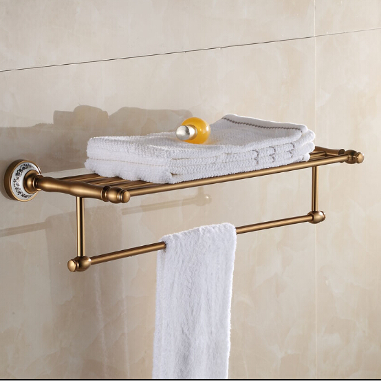 Antique Space Aluminum Bath Towel Rack Bathroom Towel Holder Double Towel Shelf Fixed Bathroom Towel Shelf with Ceramic Decor AH new arrival antique copper with ceramic towel rod rack shelf towel rack fashion bathroom accessories luxury bath towel hj 1812 page 7
