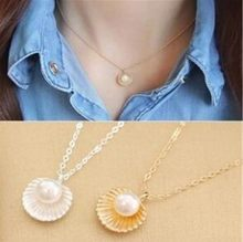 2019 Summer Beach Necklace Pearl Shell Shape Pendant Necklaces Beautiful Jewelry Necklace By The Sea Women's Elegant Necklace(China)