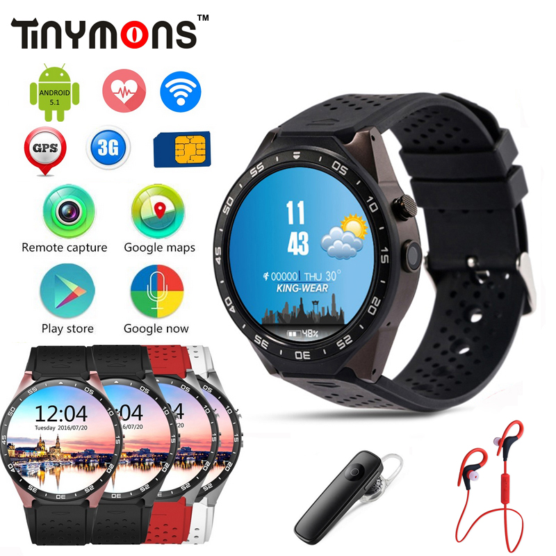 KW88 3G SIM Wifi GPS Smart Watch Android 5.1 MTK6580 Quad Core CPU 1.39'' Round Screen Camera Wear Wrist Band Watches iOS PK X5