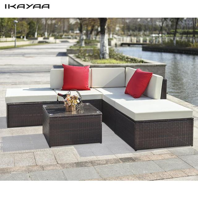 Ikayaa 6pcs Cushioned Rattan Outdoor Patio Furniture Set Garden Wicker Sectional Corner Sofa Couch Table