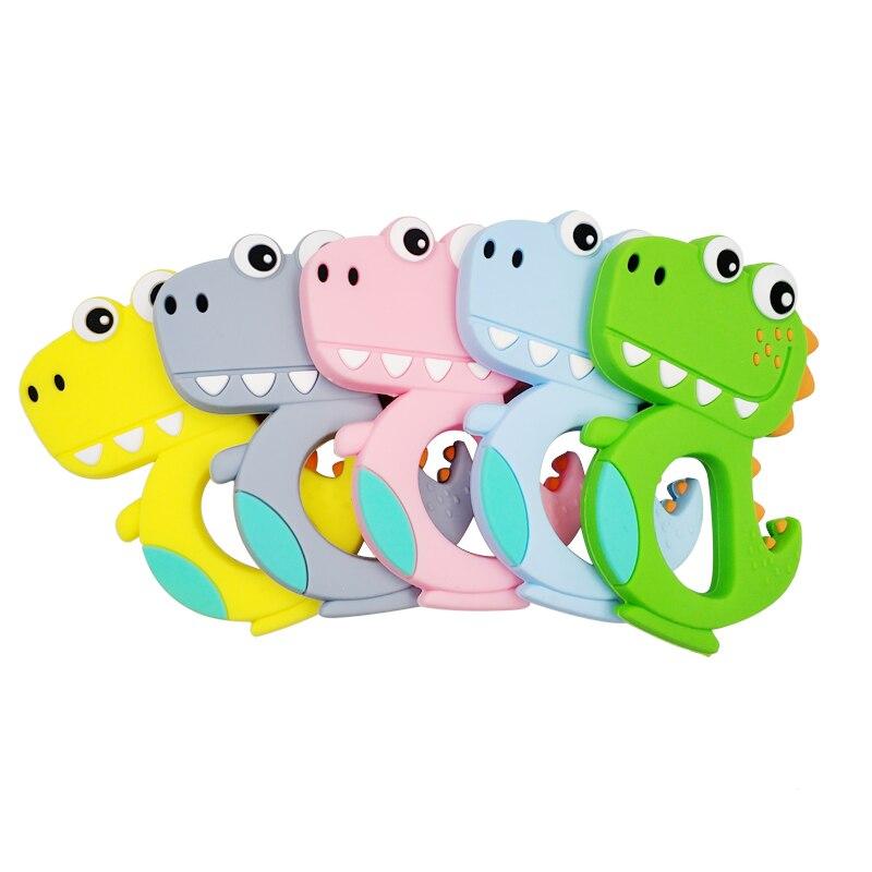 Cartoon Dinosaur Teether Baby Kid Silicone Soother Teething Chew Teething Toy