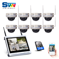 Plug And Play 8CH Wireless NVR Kit 10 LCD Screen 720P HD Outdoor IR Vandal Proof
