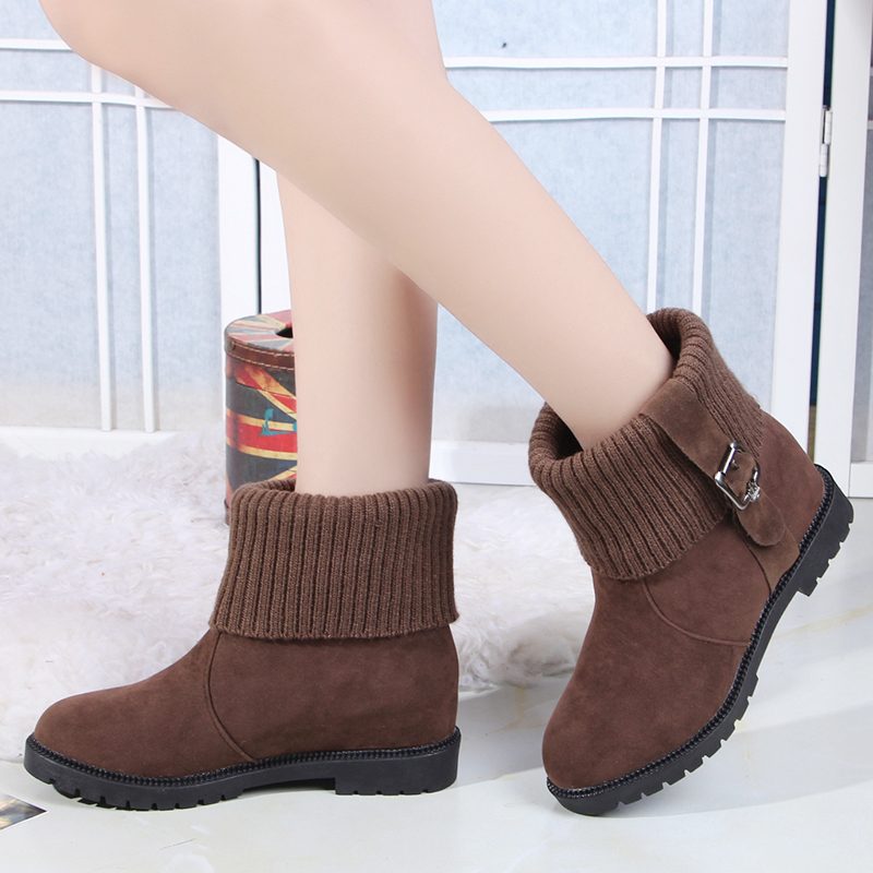 Slip on <font><b>Shoes</b></font> for Women Black Brown Woman Boots Flat Winter Warm Casual <font><b>Shoes</b></font> High Top with Fur Boots <font><b>Brands</b></font> Casual Woman