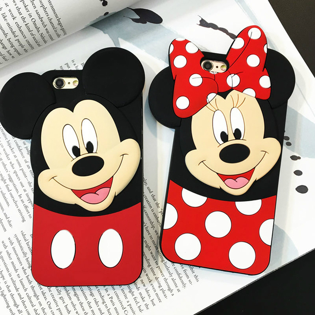 Cute Cartoon Black Minnie Mouse Mickey Mouse Silicone Soft