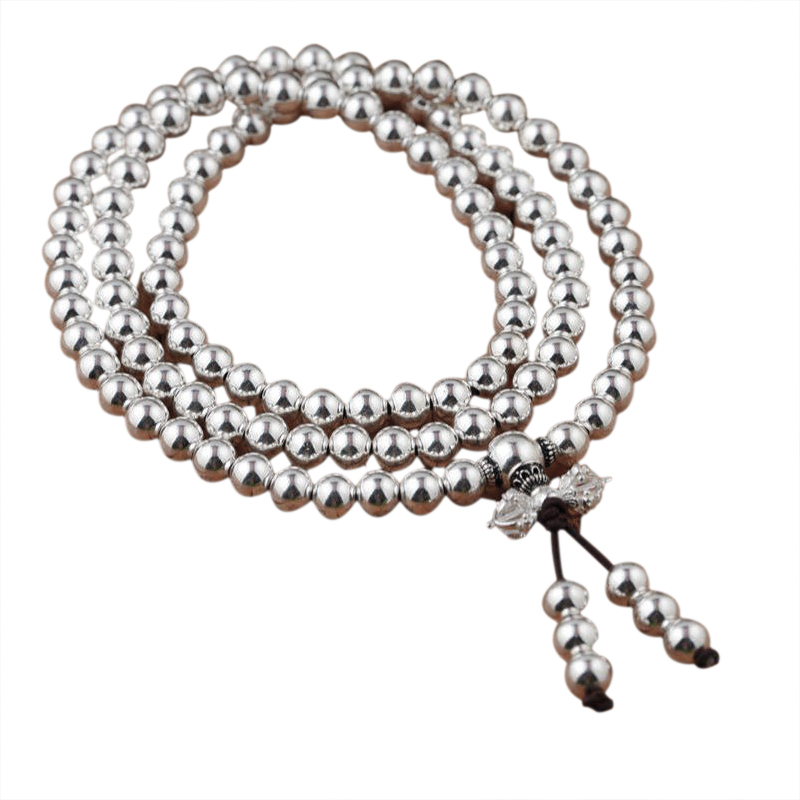 Real 925 Sterling Silver Multi Layers Round 108 Beads Bracelet For Women Buddhist Handmade DIY Beaded