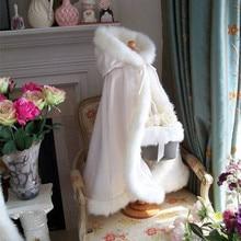 Longitud del piso con capucha chico s capa boda capas de piel sintética chaqueta para invierno chico flor chica vestido con encogimiento de hombros abrigos