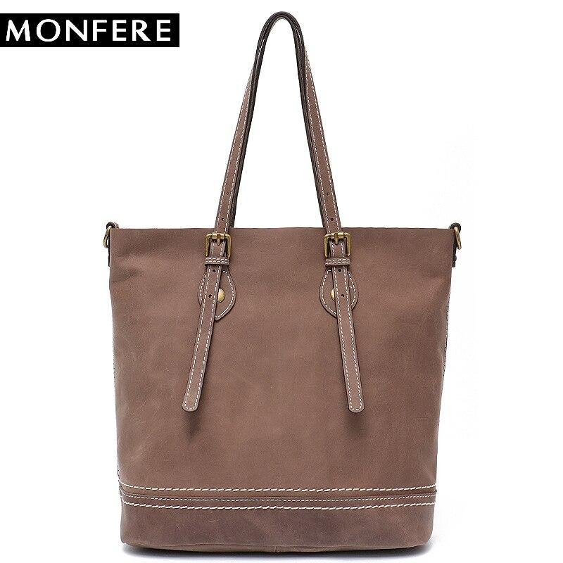 где купить MONFERE Brand Shoulder Tote Bag for Women Leather Cowhide Causal Messenger Bags Fashion Luxury Real Leather Large Thread Handbag по лучшей цене