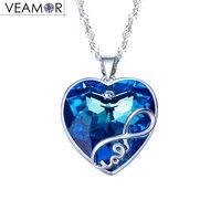 Veamor prawdziwego srebra próby 925 nieskończona miłość naszyjnik wisiorek niebieski kryształy z Australii pendents dla kobiet, m. in. łańcucha