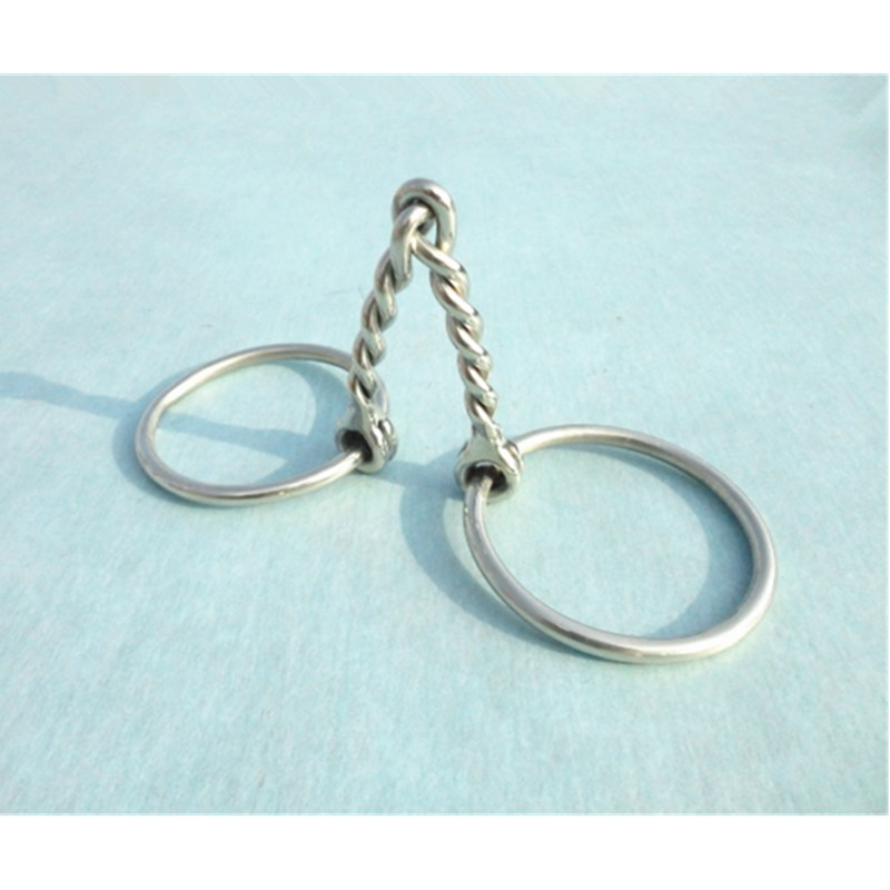Twisted Round Wire Mouth Bit Stainless steel Ring Snaffle Bit 125mm ...