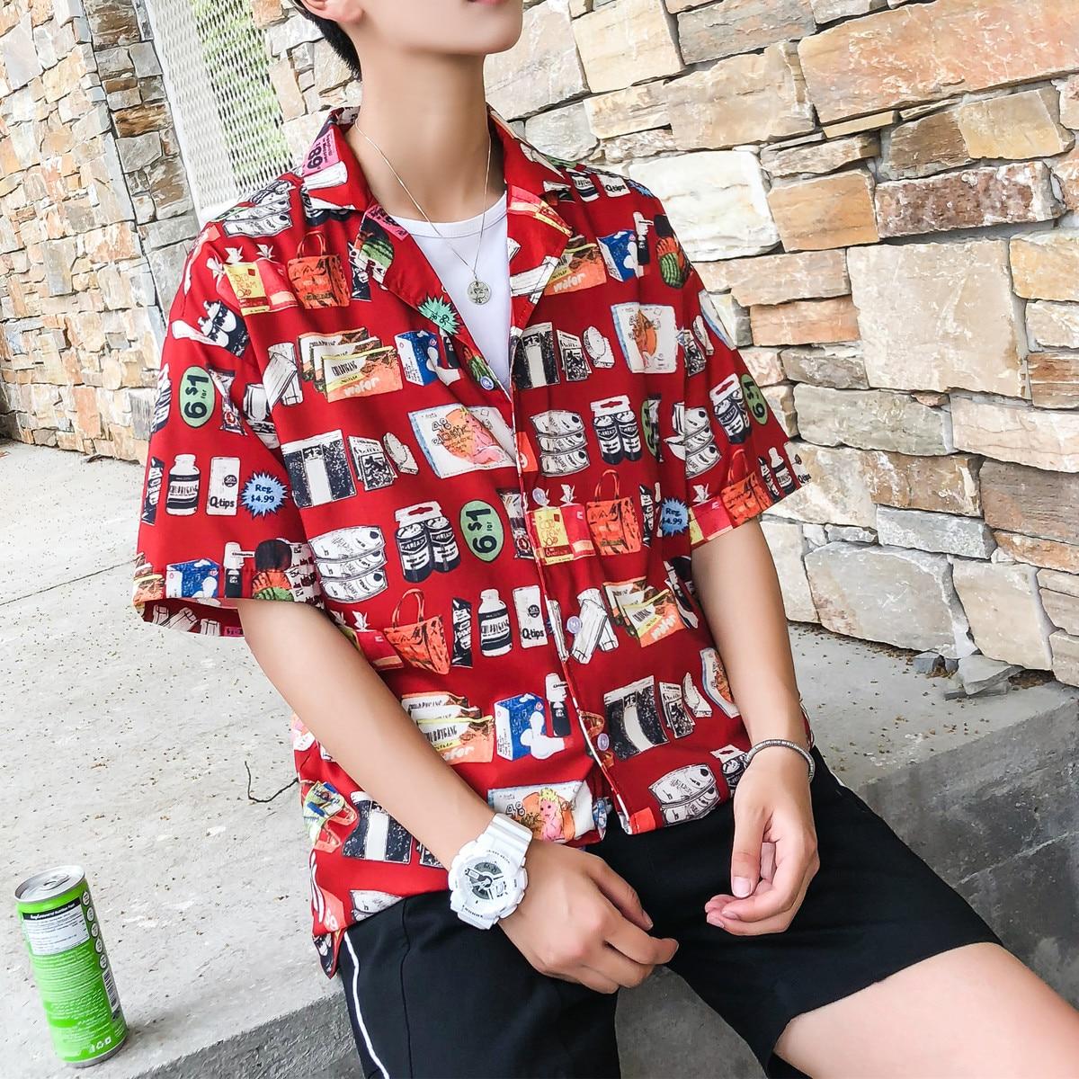 1d0342911 2018 Summer Printed shirt male Lapel Thin Short Sleeve Beach Men Hawaiian  Shirt Flower Chiffon Male Fashion Loose clothes Shirts | Mikes Wholesale  Mart