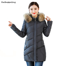 купить 2018 Winter Women Hooded Coat Fur Collar Thicken Warm Long Jacket Female Plus Size Outerwear Parka Ladies Chaqueta Feminino Coat по цене 1647.82 рублей