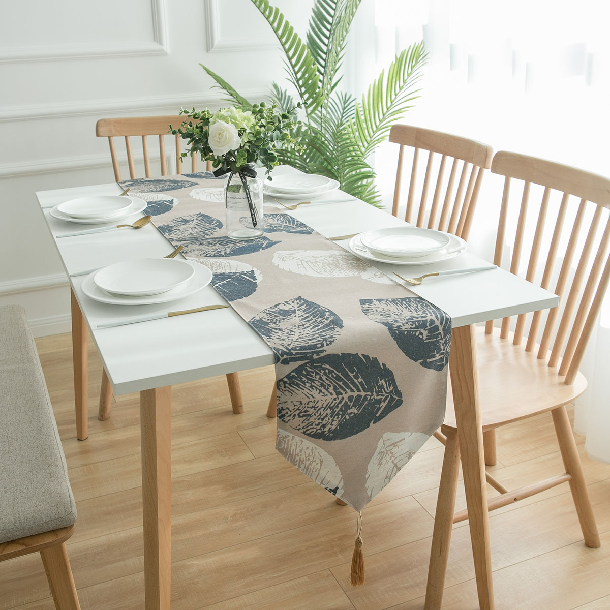 Bohemian Leaf Pattern Table Runner Modern Rural Style Home Decor Family Table Decoration Accessories Leave Place Mat Table Mat in Table Runners from Home Garden