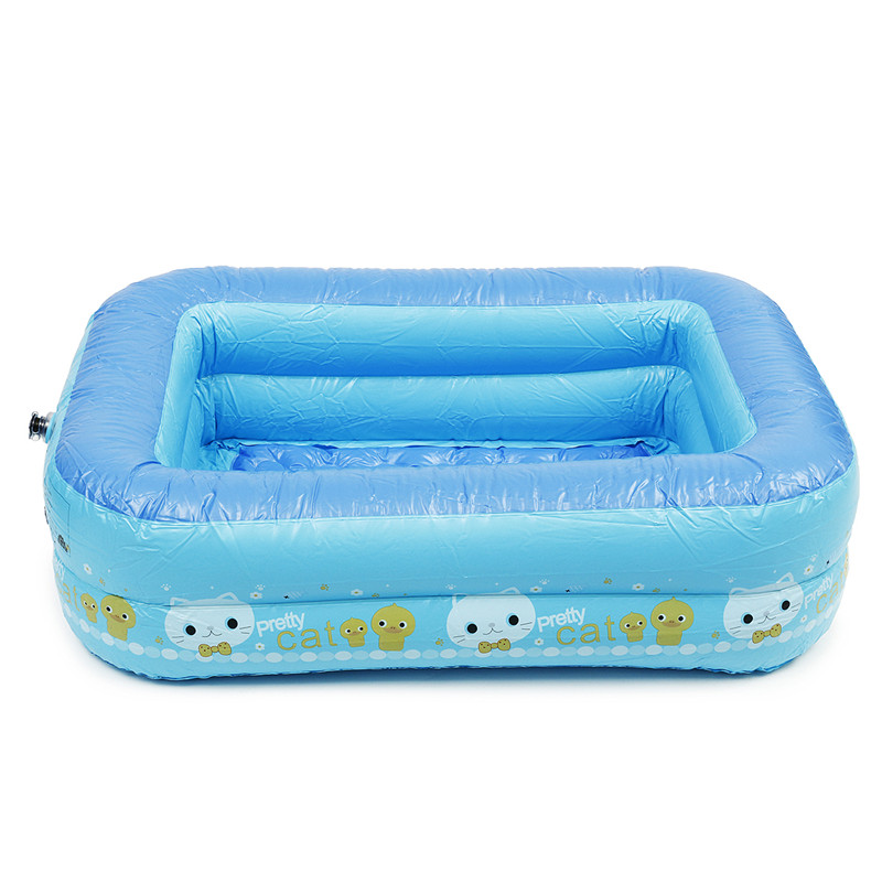 2-Layer Kids Inflatable Pool Eco-friendly PVC Portable Children Bath Tub Baby Mini-playground 120*95*36cm Summer Swimming Pools large letter pattern inflatable swimming pool for baby infant eco friendly pvc folding toddler kids water playing game pools