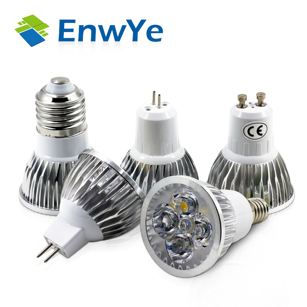 EnwYe Super Bright 4W 5W E27 E14 GU10 GU5.3 LED Bulb 110V 220V MR16 12V Led Spotlights Warm White Light Cool White LED lamp mr16 4w 280 lumen 3500k 4 led warm white light bulb ac 85 265v