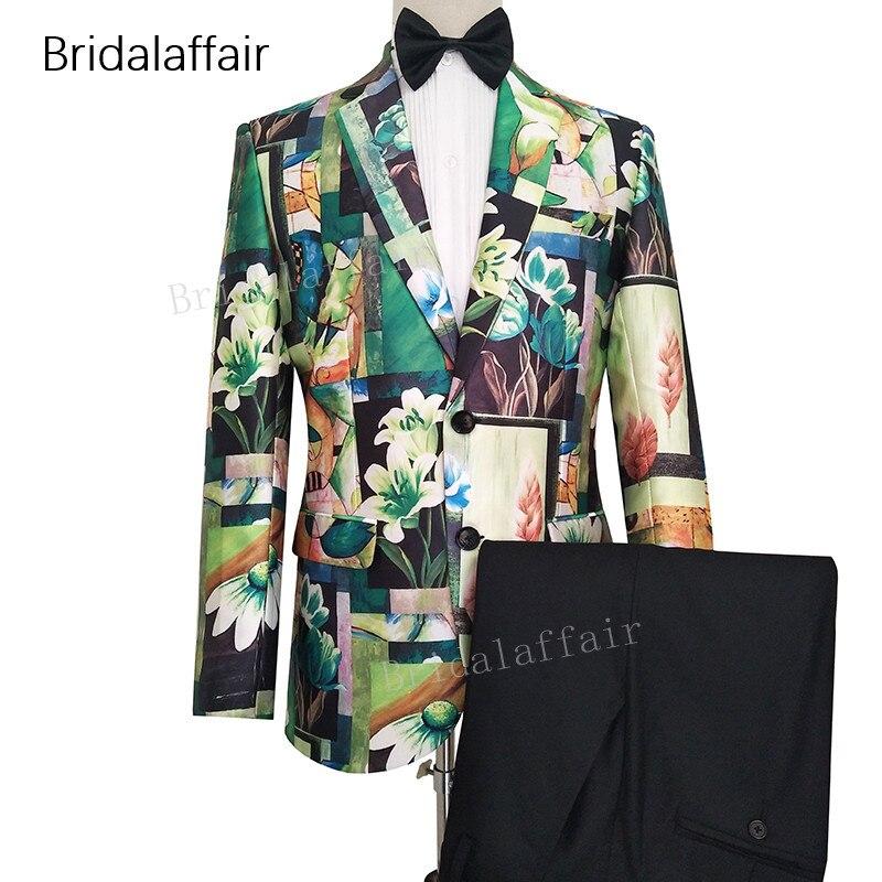 Erkek Kıyafeti'ten T. Elbise'de Gwenhwyfar Özel Yapılmış Erkek Takım Elbise Smokin Yeşil Çiçek Baskılı Blazer Slim Fit Düğün Erkek Takım Elbise Seti 2 Adet Ceket ve siyah Pantol'da  Grup 1