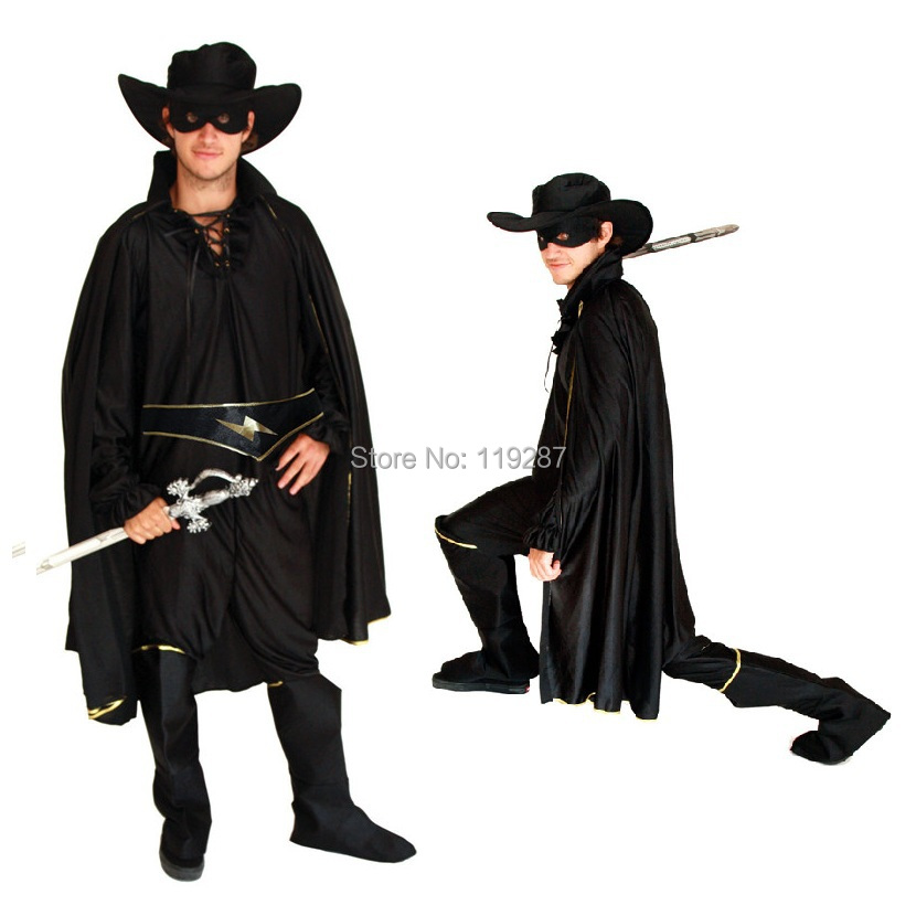 Livraison gratuite Halloween costume mascarade Zorro ensemble entier cosplay vêtements pour hommes scène performance carnaval vêtements