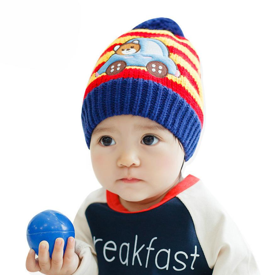 Lovely Knitted Baby Hat Winter Wool Cap Toddler Cartoon Hats Beautiful Colourful Baby Beanie Caps Gorro Infantil NEWEST
