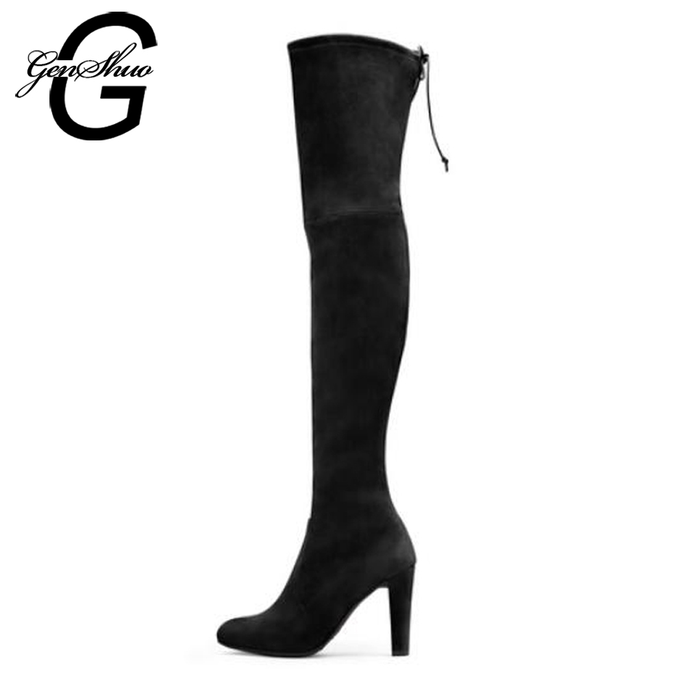 GENSHUO Women Long Boots Shoes Winter Knee High Boots Stretch Fabric Over The Knee High Boots Black Slim Fit Thigh High Heels chuassure female boots peep toe high thick heels over the knee boots women autumn boots stretch fabric boots casual shoes black