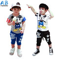 2016 Summer Children's Clothing leisure suit boys and girls track suit kids cartoon t-shirt + pants two-piece suit short-sleeved