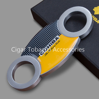 COHIBA Brand NEW Classic Accessories Pocket Silver&Yellow Stainless Steel Double Blade Cuban Cigars Scissors Sharp Cigar Cutter