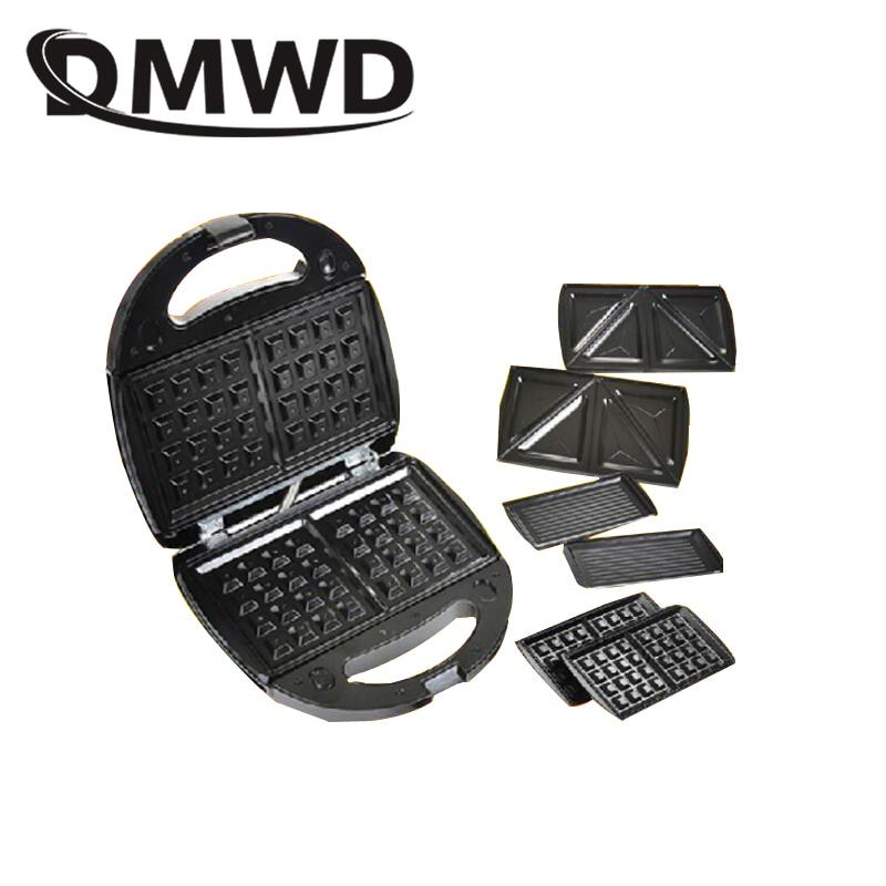 DMWD Electric MINI Egg Waffle Sandwich Maker Grilling 3 Optional Plates Breakfast Baking Machine Panini Toaster Bread Frying Pan