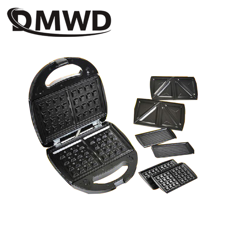 DMWD Electric MINI Egg Waffle Sandwich Maker Grilling 3 Optional Plates Breakfast baking Machine Panini Toaster Bread frying pan image