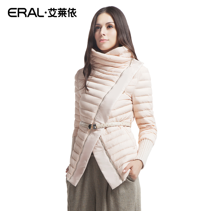 ERAL 2016 High Quality Winter Womens Fashion Stand Collar Oblique Zipper Patchwork Short Down Jacket Coat ERAL2007D