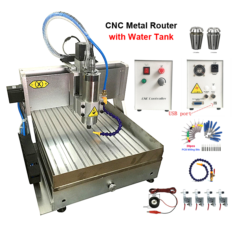 Waterjet Cnc Machine CNC6040 Metal Engraver 1500W VFD USB 4axis Engraving  With Water Tank