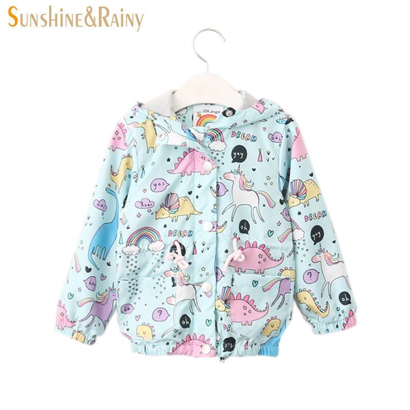 4a64420a081 US $21.4 |Sunshine & Rainy Autumn Jacket For Girls Fantasy Unicorn Baby  Girl Coats And Jackets Kids Hooded Windbreaker Cartoon Outerwear-in Jackets  & ...