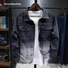 Nueva chaqueta vaquera ajustada negra y blanca con degradado vintage para hombre, ropa de calle informal estilo Hip Hop, chaquetas tapados abrigos