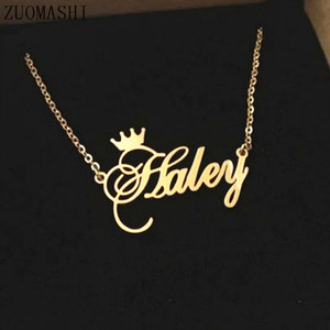 Personalized Name Crown Necklace Stainless Steel Charm Custom Name Jewelry Any Name Lots Of Font Style To Choose For Girls Kids(China)