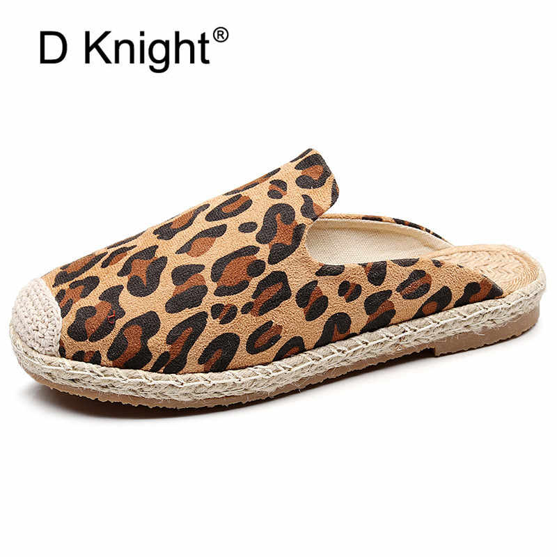 3adee7dd053d Lady Slippers 2019 New Summer Sexy Casual Mules Shoes Round Toe Canvas Leopard  Slide Footwear Slip