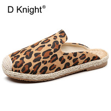 цена на Lady Slippers 2019 New Summer Sexy Casual Mules Shoes Round Toe Canvas Leopard Slide Footwear Slip on Fisherman Woman Espadrille