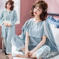 3pcs/set Maternity Nursing Pajamas Cotton Breastfeeding Sleepwear Clothes for Pregnant Women Spring Autumn Pregnancy Nightwear