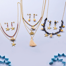 Baoyan Fashion Ocean Beach Shell Jewelry Set Seashell Starfish Rudder Anchor Gold Plating Stainless Steel Sets For Women