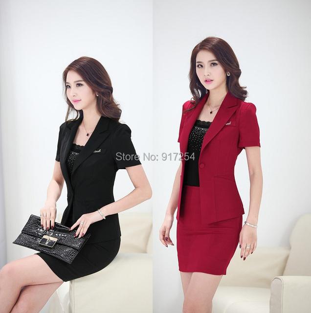 Nueva Formal Elegante 2015 Primavera Verano Moda Mujeres Trajes con Falda y Chaqueta Señoras Oficina de Trabajo Uniformes Blazers Plus Size