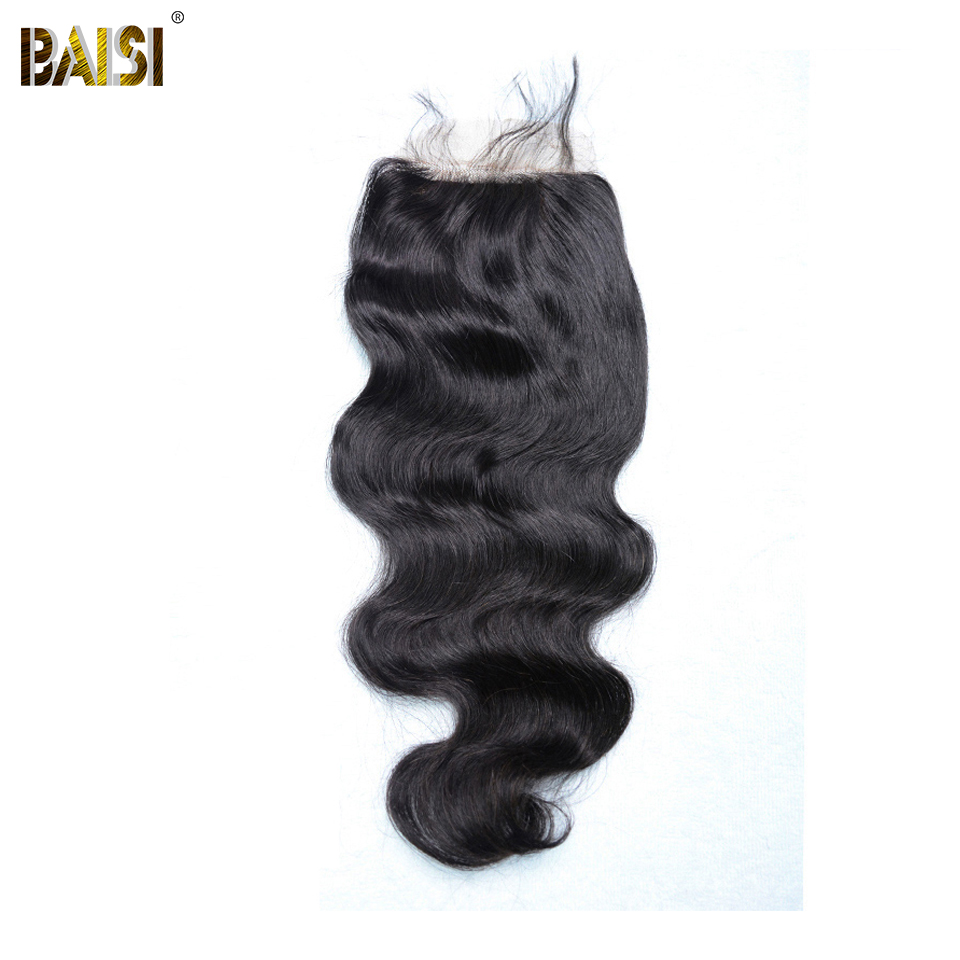 BAISI Peruvian Body Wave Hair Silk Base Closure Free Part Middle Part Three Part 100 Virgin