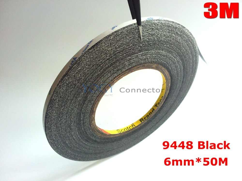 3M Black,  6mm*50 meters Double Sided Adhesive Tape Sticky for Cellphone LCD Display Touch Screen Repair / Logo Adhesive