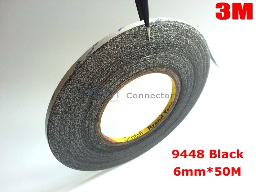 3 M noir, 6mm * 50 mètres ruban adhésif Double face collant pour téléphone portable LCD affichage écran tactile réparation/Logo adhésif