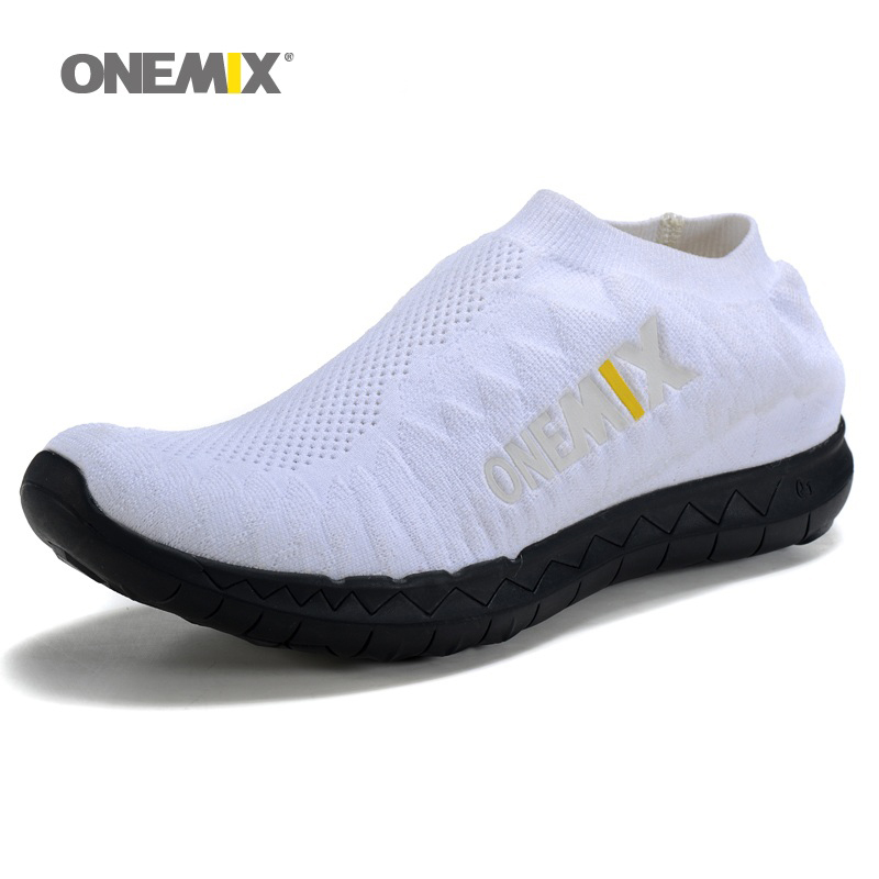 ONEMIX Man Running Shoes for men Run Athletic Trainers Breathable White Zapatillas Sports Shoe Light Loafers Walking Sneakers купить