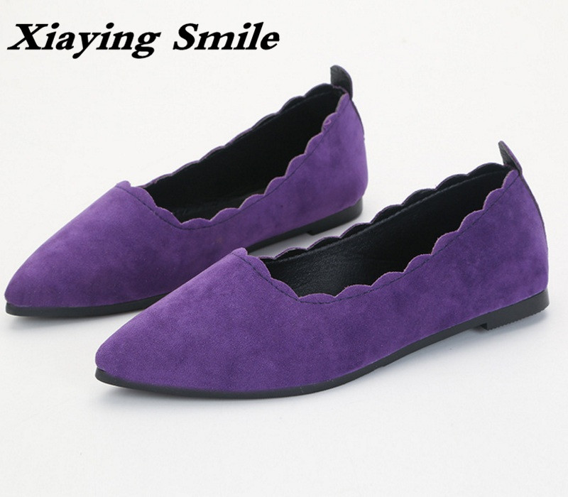 Xiaying Smile Woman Shoes Women Ballet Flats Spring Summer Casual Slip On Pointed Toe Scalloped Edges Flock Rubber Women Shoes new 2017 spring summer women shoes pointed toe high quality brand fashion womens flats ladies plus size 41 sweet flock t179