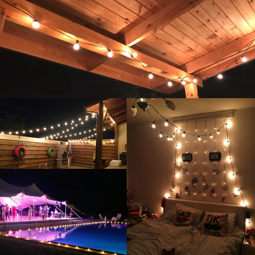 Image 5 - Patio Lights G40 Globe Party Christmas String Light,Warm White 25Clear Vintage Bulbs 25ft,Decorative Outdoor Backyard Garland-in Holiday Lighting from Lights & Lighting
