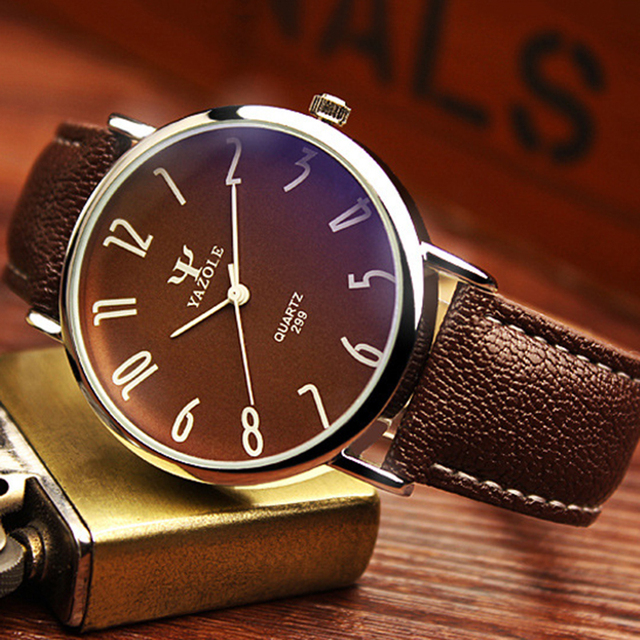 Men Casual Business Leather Strap Watch 3