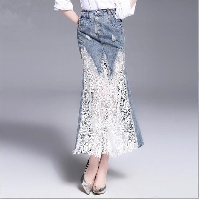 67e42148d03 patchwork lace long denim skirts saia fashion high waist casual summer  women skirts mermaid skirt