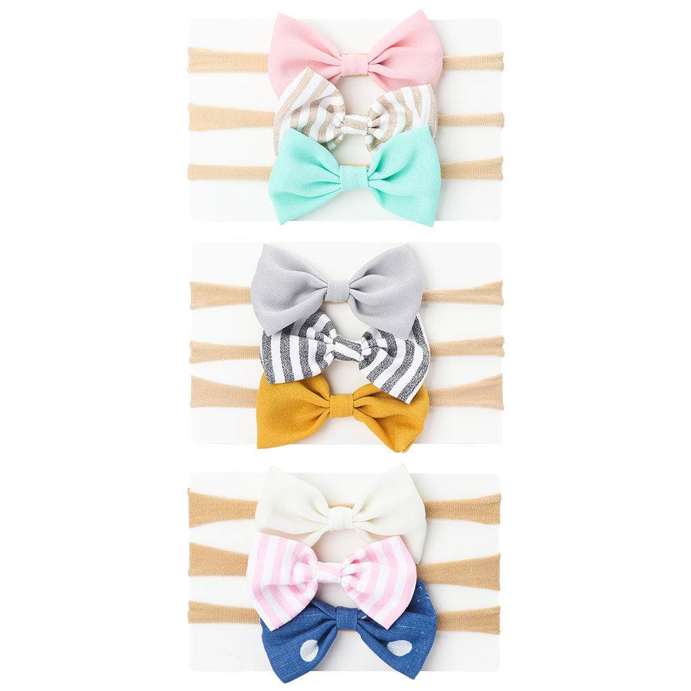 Baby Headbands Girls Lovely Bow Knot Hairband Toddlers Colorful Hair Accessories Gift New Fashion 3 Pcs/set